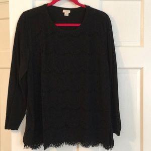 GUC J. Crew black lace front shirt sz XL